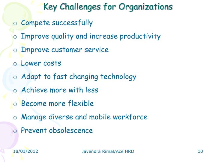 Key Challenges for Organizations