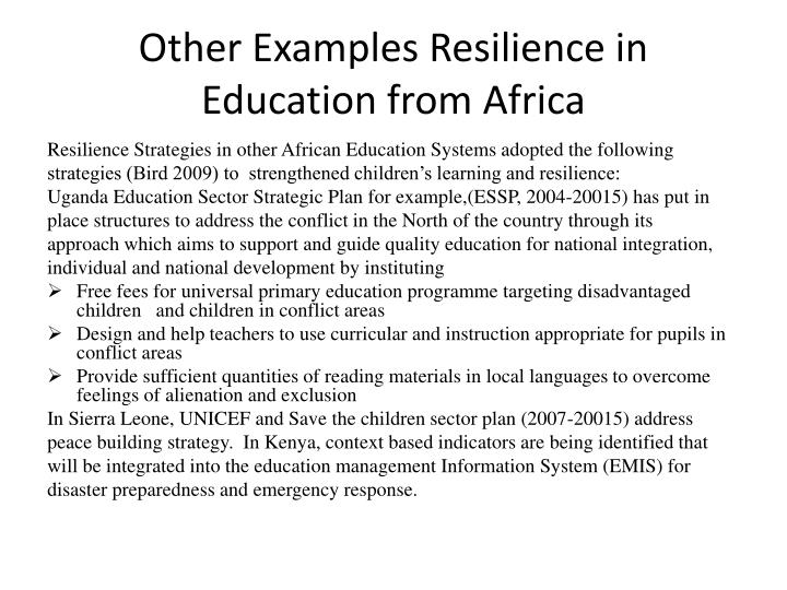 Other Examples Resilience in Education from Africa