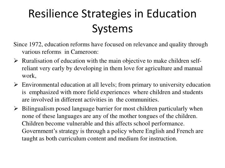Resilience Strategies in Education Systems
