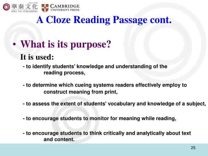 A Cloze Reading Passage cont.