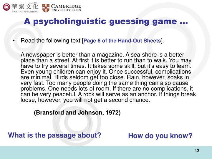 A psycholinguistic guessing game …