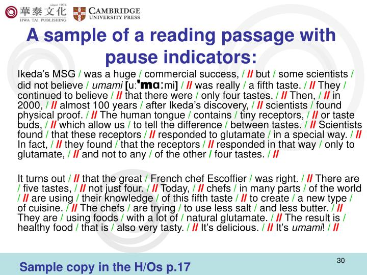 A sample of a reading passage with pause indicators: