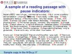 a sample of a reading passage with pause indicators