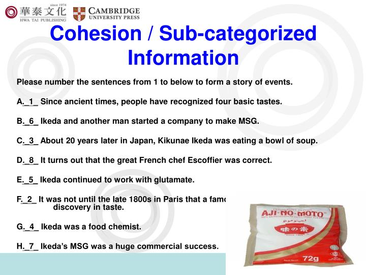 Cohesion / Sub-categorized Information