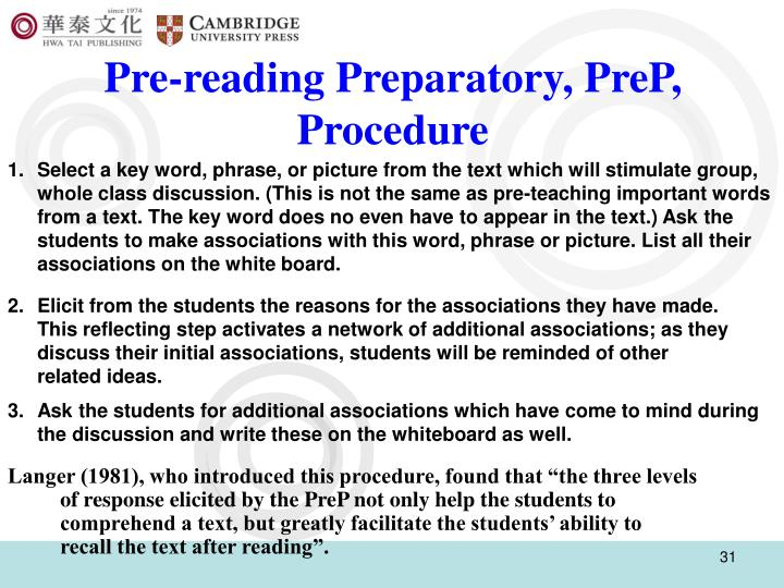 Pre-reading Preparatory, PreP,  Procedure