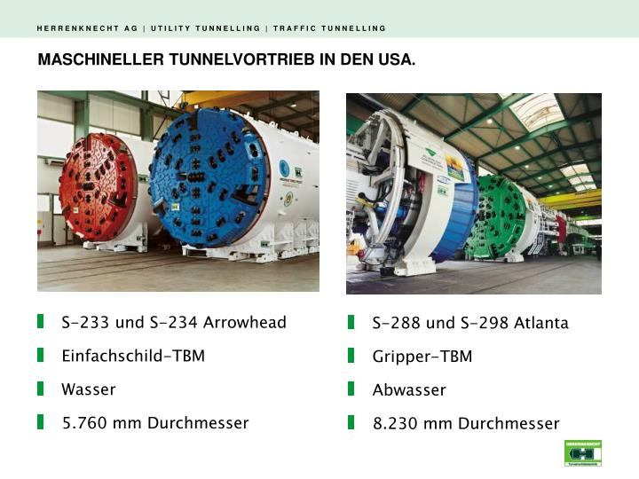 MASCHINELLER TUNNELVORTRIEB IN DEN USA.