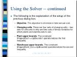 using the solver continued
