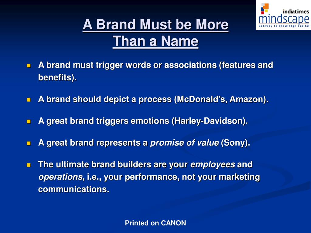 A Brand Must be More