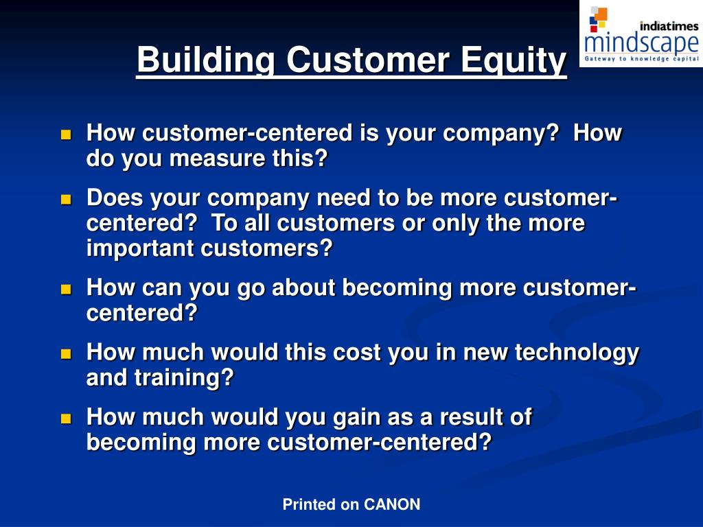 Building Customer Equity