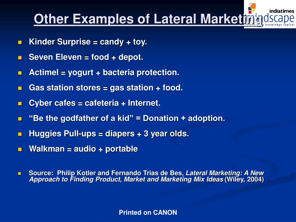 Other Examples of Lateral Marketing