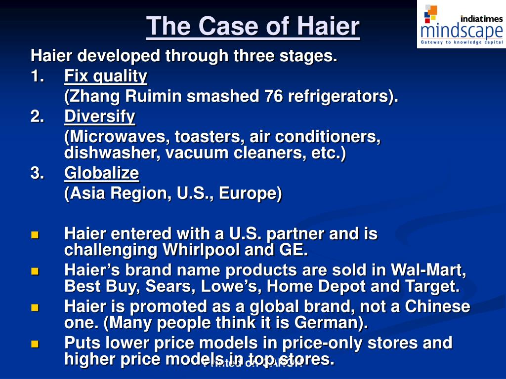 The Case of Haier