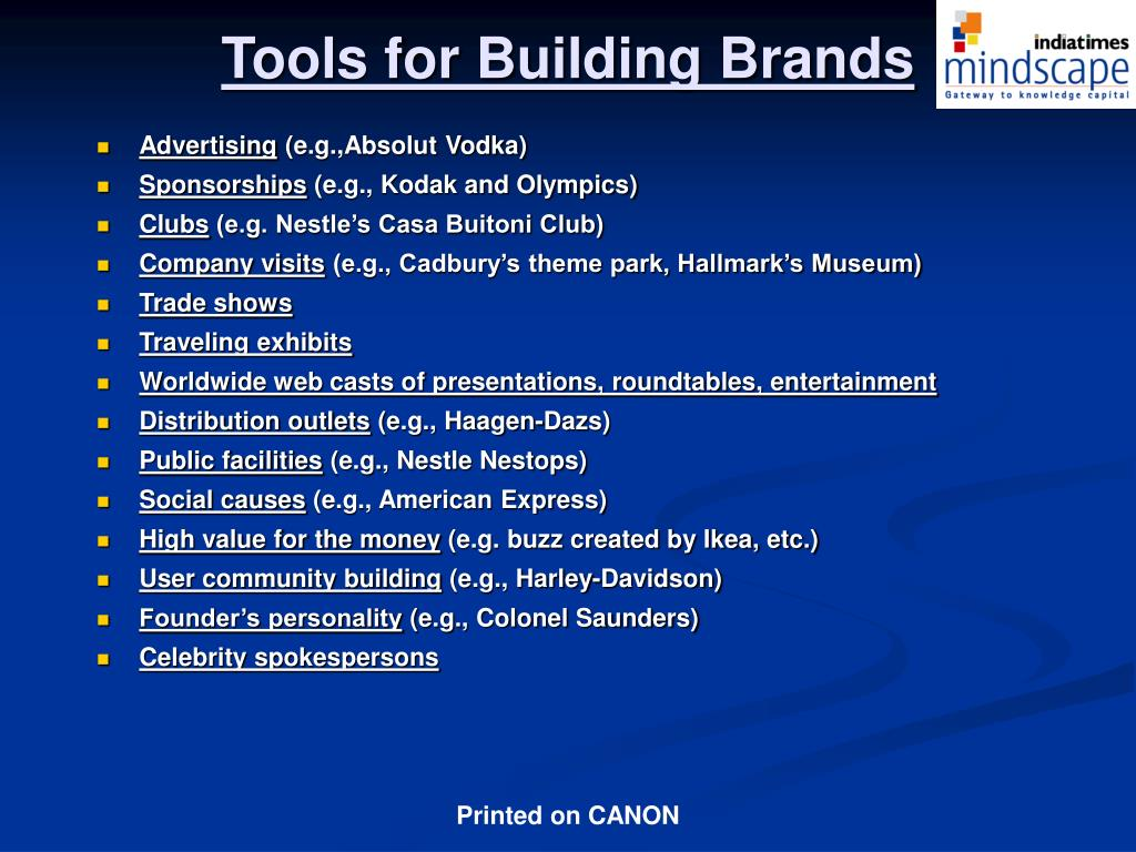 Tools for Building Brands