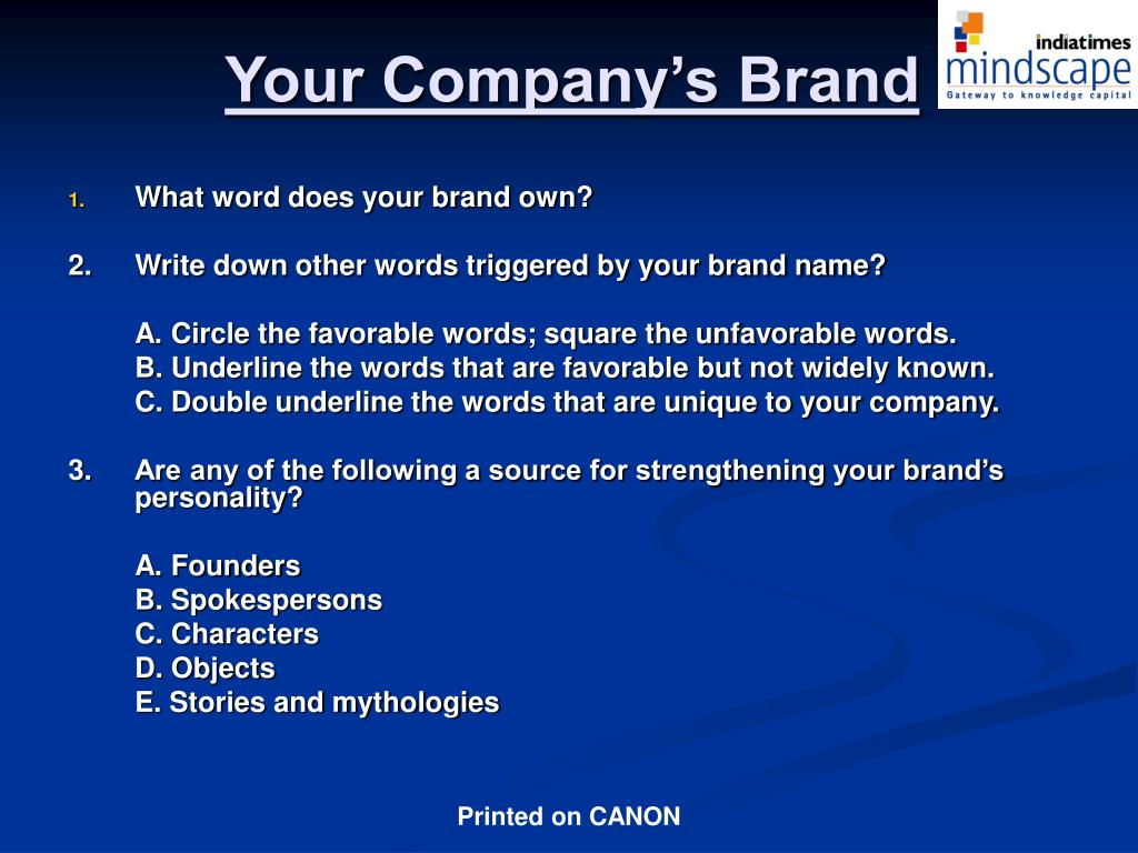 Your Company's Brand