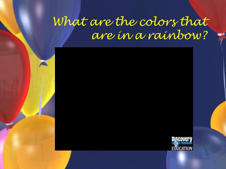What are the colors that are in a rainbow