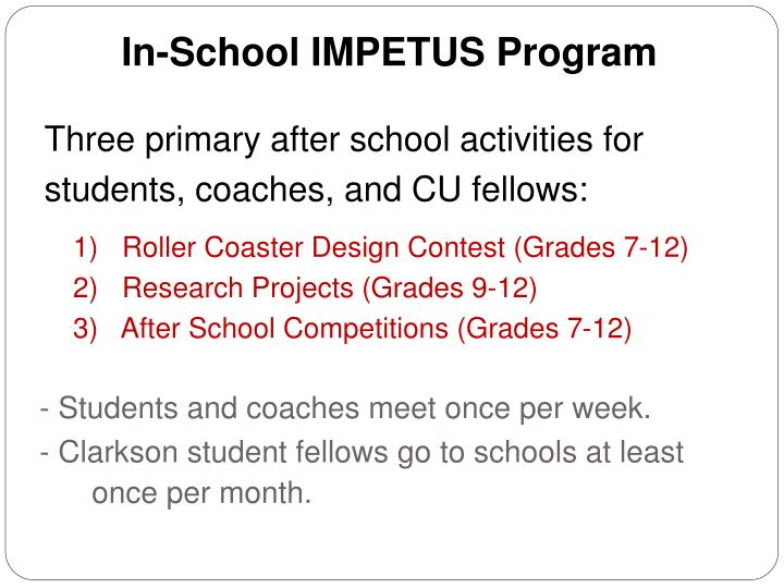 In-School IMPETUS Program