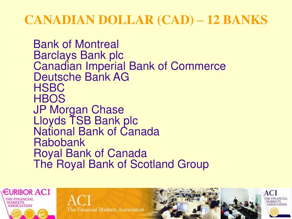 CANADIAN DOLLAR (CAD) – 12 BANKS