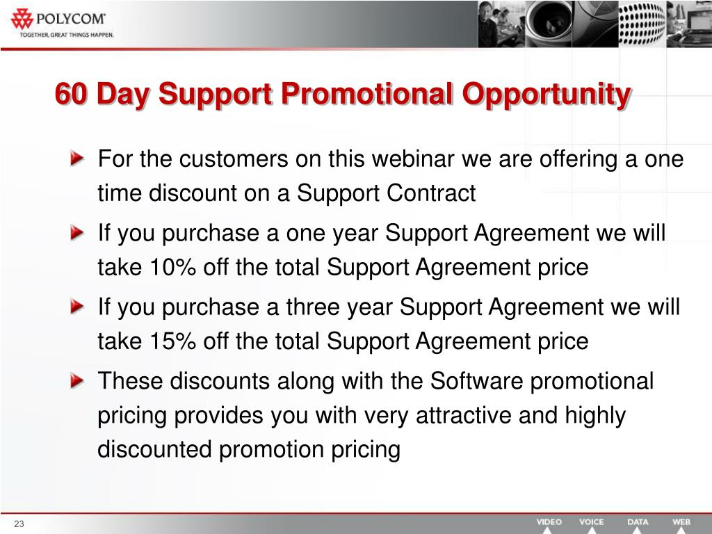 60 Day Support Promotional Opportunity