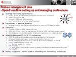 reduce management time spend less time setting up and managing conferences