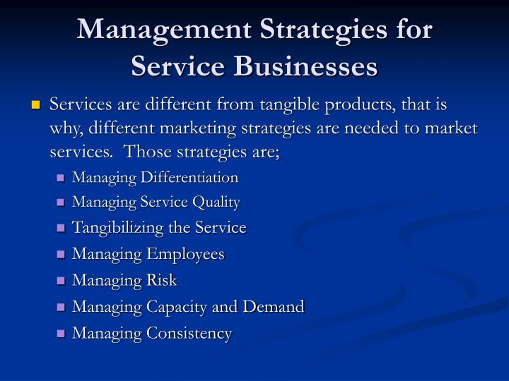 Management Strategies for Service Businesses