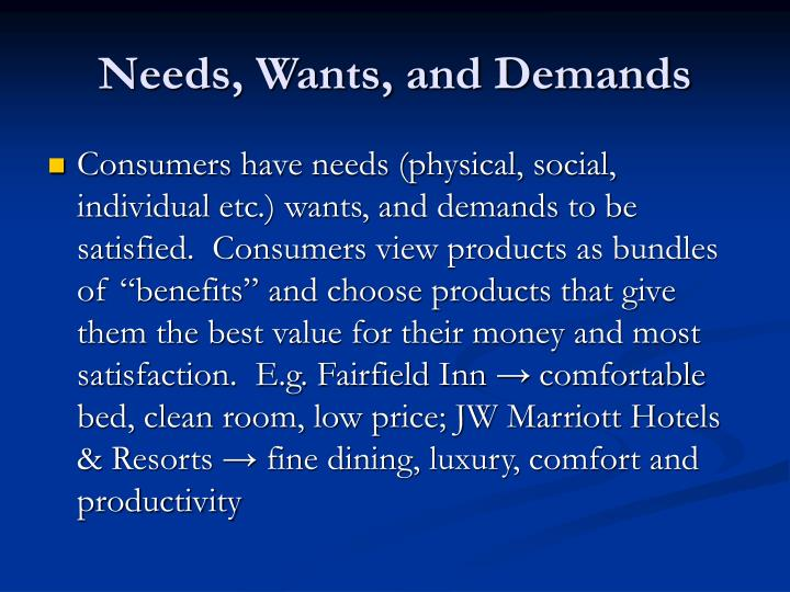 Needs, Wants, and Demands