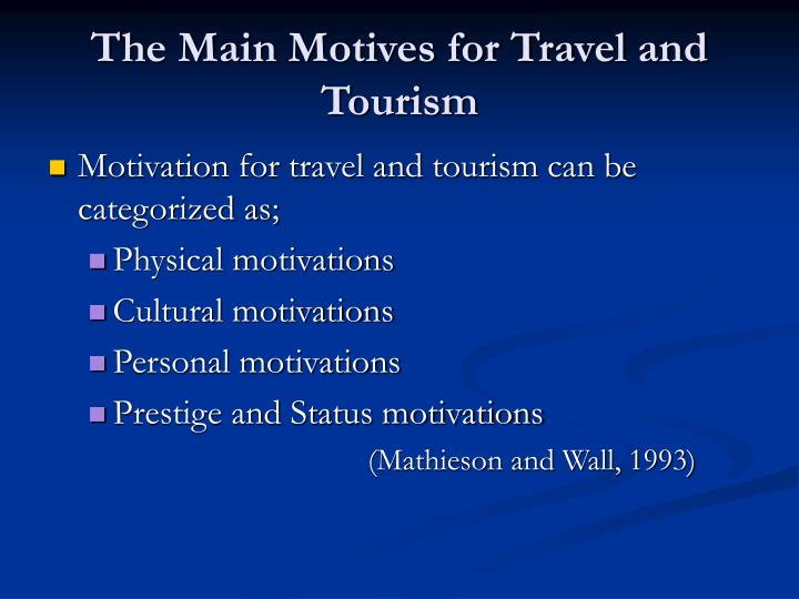 The Main Motives for Travel and Tourism