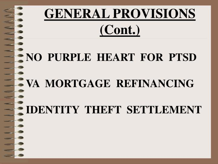 GENERAL PROVISIONS (Cont.)