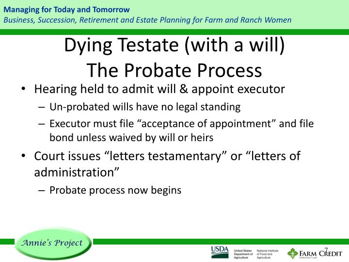 Dying Testate (with a will)