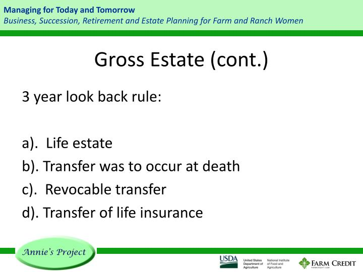 Gross Estate (cont.)