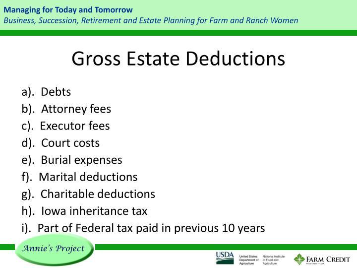 Gross Estate Deductions