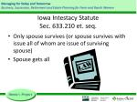 iowa intestacy statute sec 633 210 et seq