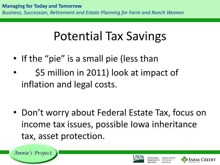 Potential Tax Savings