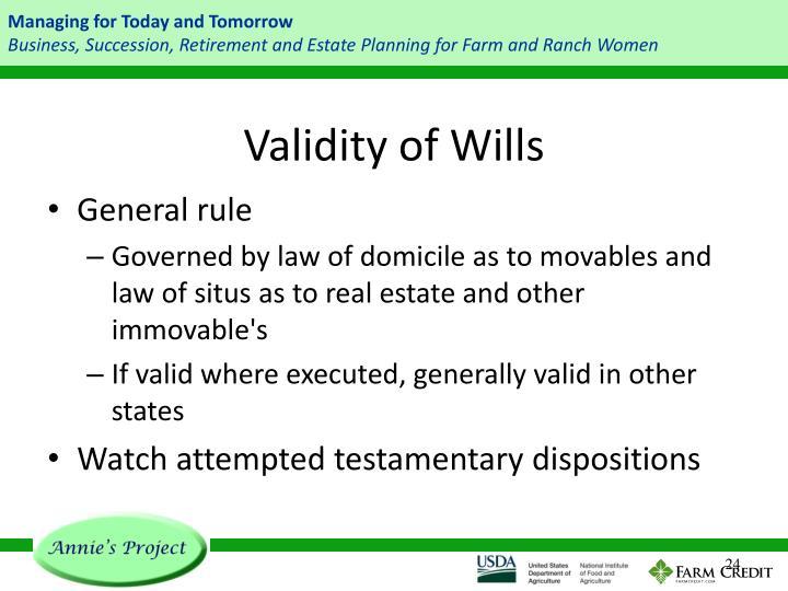 Validity of Wills