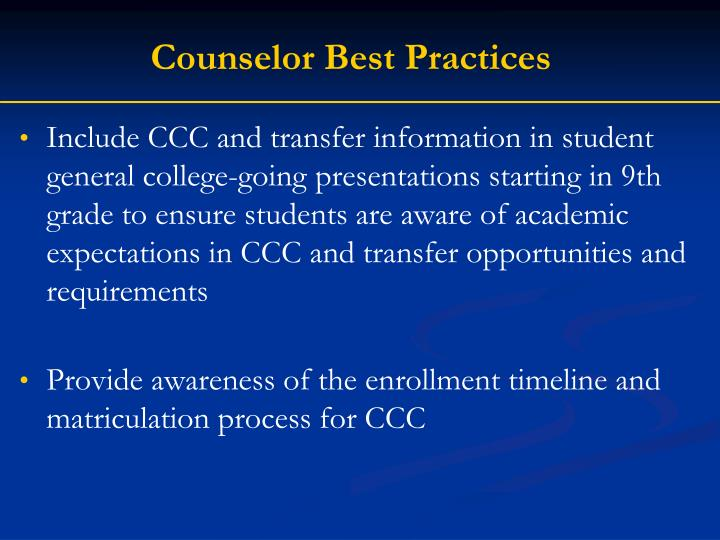 Counselor Best Practices
