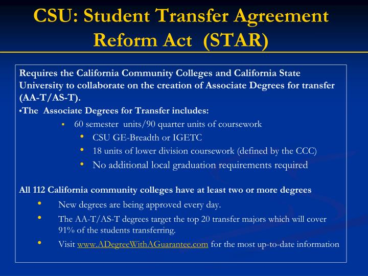 CSU: Student Transfer Agreement