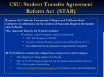 csu student transfer agreement reform act star