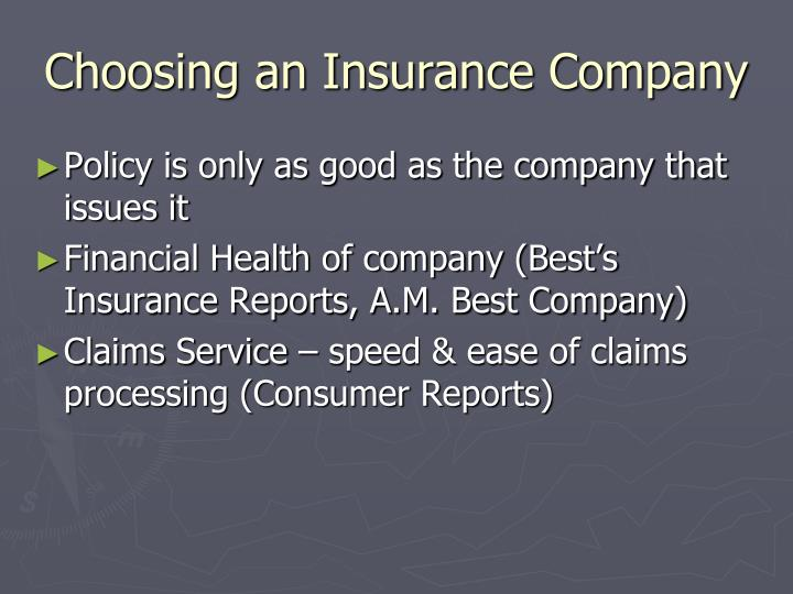 Choosing an Insurance Company