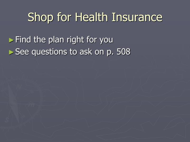 Shop for Health Insurance