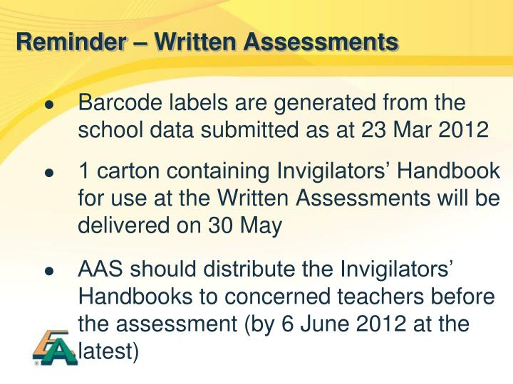 Barcode labels are generated from the school data submitted as at 23 Mar 2012