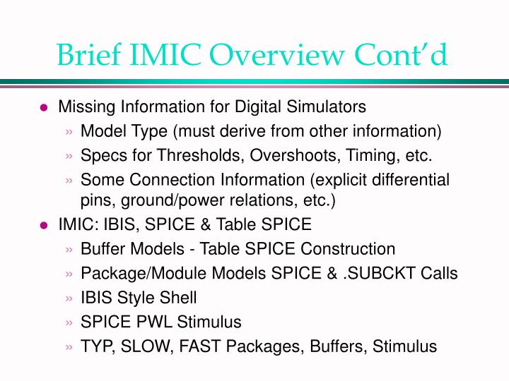 Brief IMIC Overview Cont'd