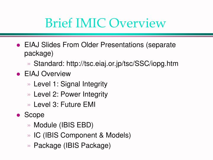 Brief IMIC Overview