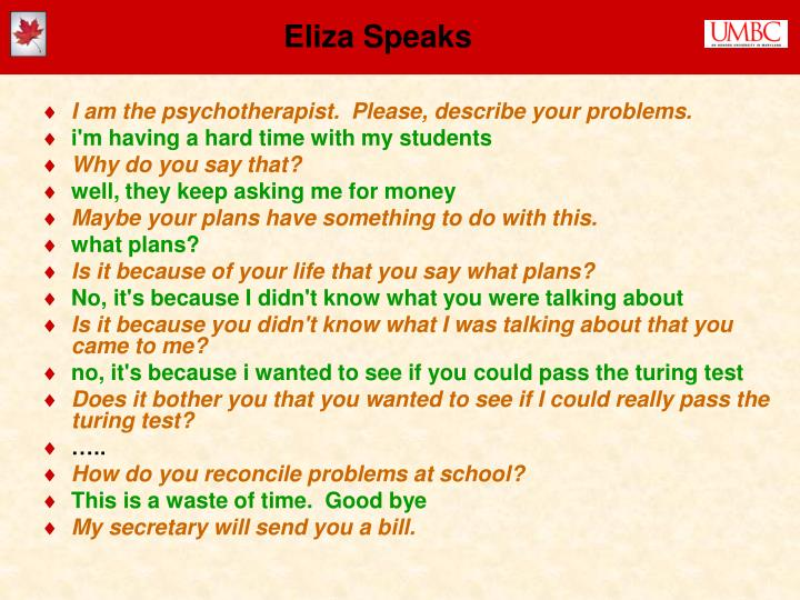 Eliza Speaks