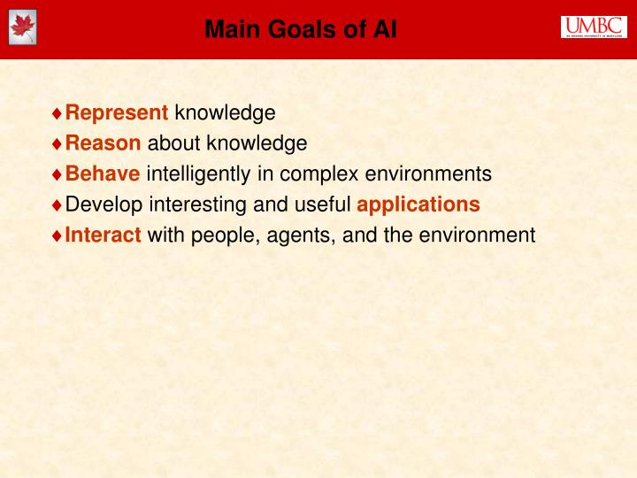 Main Goals of AI