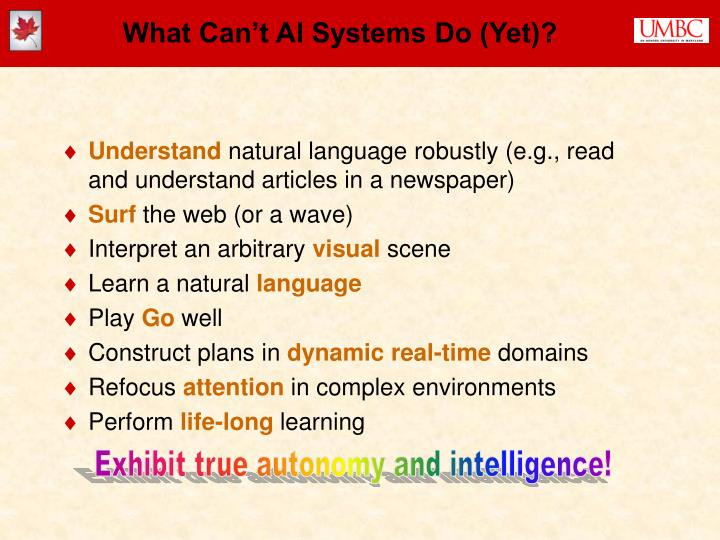 What Can't AI Systems Do (Yet)?