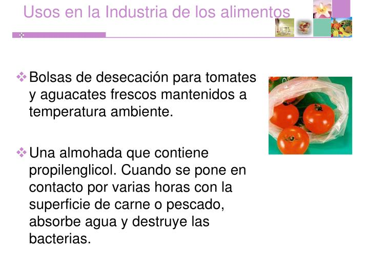 Usos en la Industria de los alimentos