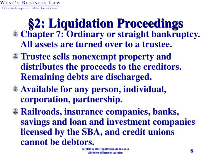 §2: Liquidation Proceedings