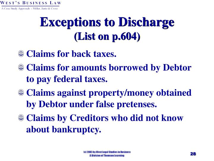 Exceptions to Discharge