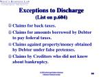 exceptions to discharge list on p 604