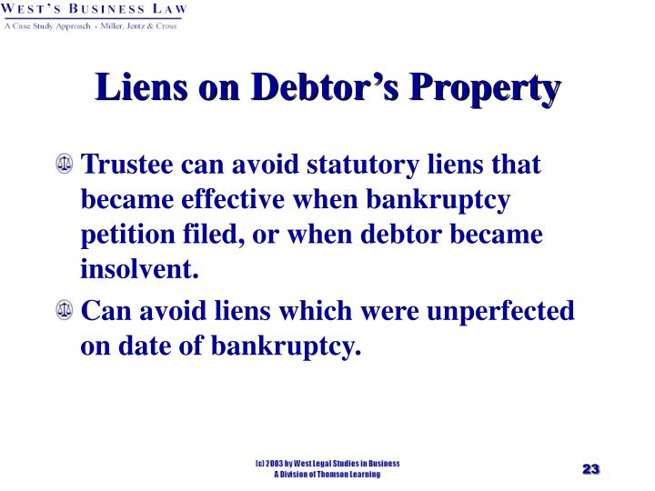 Liens on Debtor's Property