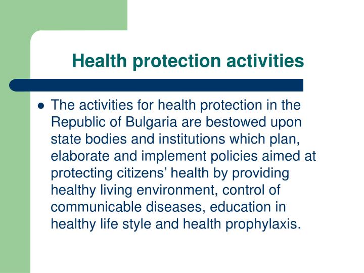 Health protection activities