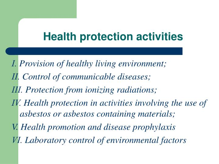 Health protection activities1